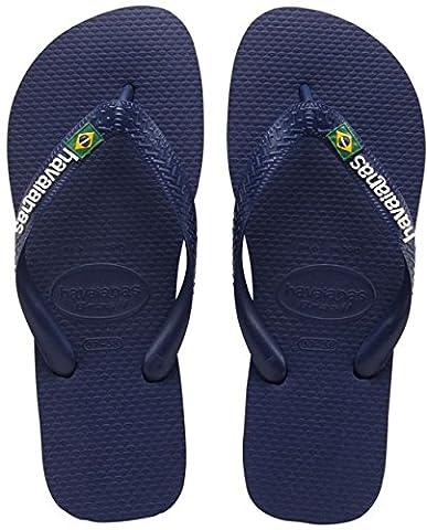 Havaianas Brasil Logo, Tongs Mixte Adulte - Bleu (Navy Blue 0555) - 41/42 EU ( 39/40 Brazilian)