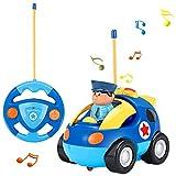 OCDAY Coches Teledirigidos, Radio Control Remoto Coches RC con Música y Luces, Tren de Teledirigido Niños, Coches de Policía Teledirigidos para Niños(Azul)