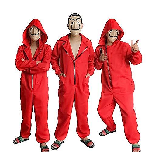 Wiokslms Kawaii Cosplay Erwachsene Kinder Dali Overall La Casa De Papel Kostüm Red One Piece Großen Roten Overall Maske Kostüm/Halloween Kostüm/Party Dress - S Dress Up Party Kostüm