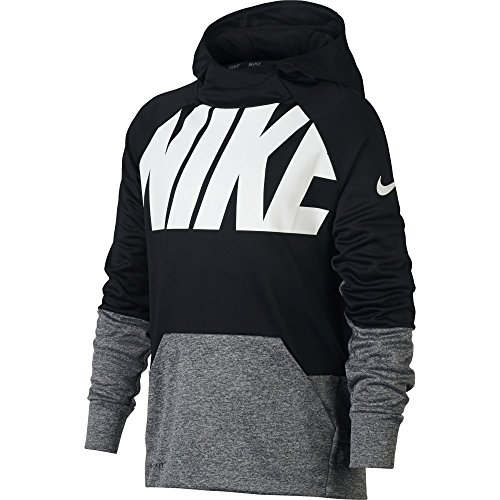 Nike B NK thrma Hoodie Po GFX Hoodie Kinder M Schwarz  (Black/Carbon Heather) (Sweatshirt Spiel Hoody)