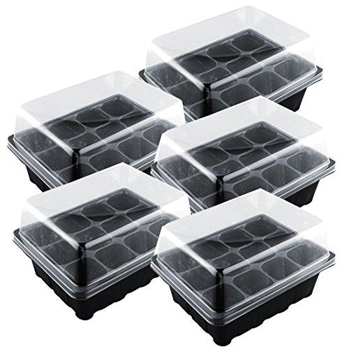 Haunen 5 Stücke Zimmergewächshäuser, Mini Gewächshaus Anzucht Pflanztöpfe - für bis zu 60 Pflanzen, fürs Keimen von Samen, Kunststoff (Schwarz)