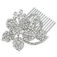 EVER FAITH® Austrian Crystal Wedding Hair Comb Flower Leaf Clear Silver-Tone N03117-1
