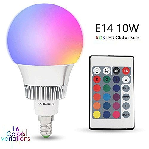 Esbaybulbs Colores cambiante Led E14 10W, RGBW LED Bombilla 16 Color Cambiantes Lámpara con Mando a Distancia, Múltiples Colores Regulable Cambio de Color iluminación Decoración para Casa Bar Fiesta KTV
