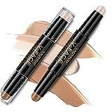 Onlyoily Makeup Doppelenden 2 in 1 Kontur Stift Highlighter Creme Stick Bronzer Concealer Pen - Cremige Textur, Farbton: Light