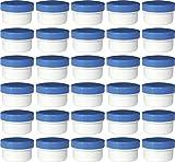 30 Salbendöschen, Creme-döschen, Salbenkruken 6ml Inhalt mit blauen Deckeln - MADE IN GERMANY