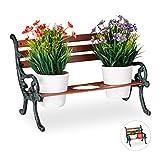 Relaxdays Mini Supporto per Fiori, Ghisa e Legno, Panchetta per 3 Vasi, Vintage, Giardino, Ø 9 cm, Verde Scuro-Marrone
