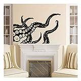 QTZJYLW Kreative DIY Art Wandaufkleber Verrückte Schwarz Octopus Tier Muster Abnehmbar Für Wand Wohnkultur Wandtattoo (89 × 56 cm)