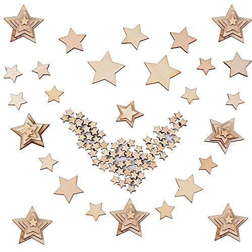 JNCH 300 Stück Holzsterne Blank Holz Stern Scheiben Mini Stern Natur unlackiert Verschönerungen für DIY Basteln Weihnachten Hochzeit Geburtstag Feiertag Dekoration (10mm+20mm+30mm+40mm)