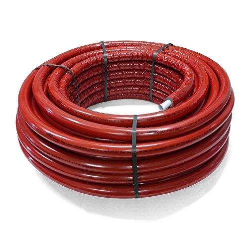 Pipetec Aluverbundrohr Aluminium Mehrschichtverbundrohr 16x2 mm 10mm rot 50m Isolierung PEX Mehrschicht-Verbundrohr MV-Rohr Mehrschichtrohr Heizung Wasser -
