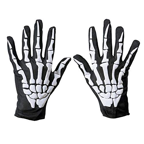 LDQLSQ Short Bone Halloween Handschuhe, Hände, Knochen, Geister, Cosplay Performance Props Simple Unisex Full Finger Skeleton Pattern in Dark Knit Handschuhe