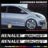 ADP Adhésifs 2 Stickers Renault Sport 52 cm - Blanc Autocollant