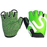 Mountain Bike Handschuhe Gel Padded Sport Handschuhe Fingerless Reiten Racing Anti-Rutsch-Sonnenschutz Männer und Frauen(Green,XXL)
