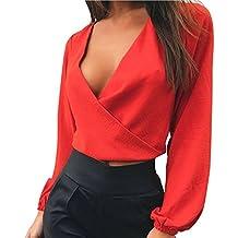 1ef498bbe63f LAEMILIA Damen Crop Top Bluse Rückenfrei Tief V-Ausschnitt Clubwear Tunika  mit Schleife am Rücken
