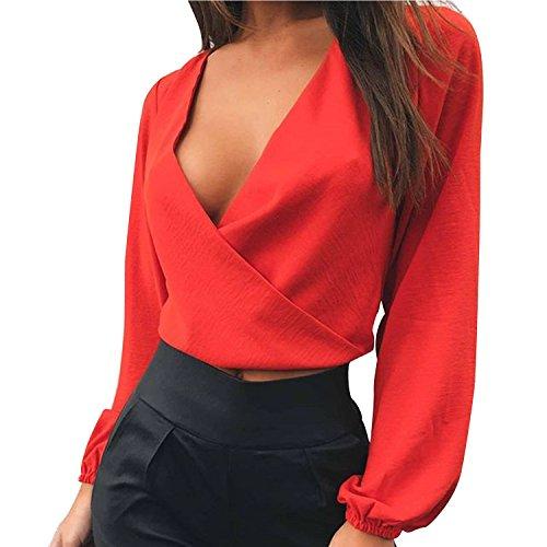 LAEMILIA Damen Crop Top Bluse Rückenfrei Tief V-Ausschnitt Clubwear Tunika mit Schleife am Rücken Abendmode Oberteil Tops Strand Party -