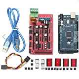 VSProducts RAMPS 1.4 Controller + MEGA2560 board + 4pcs Soldered A4988 Stepper Motor Drivers + 4pcs Heat Sinks + 19pcs Jumpers with USB Cable For Arduino RepRap 3D Printer Kit