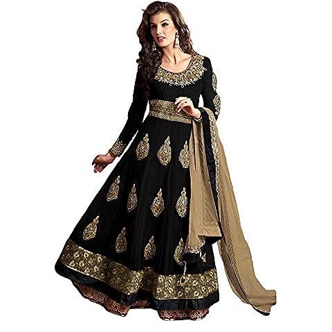 Shree Designer Sarees Women's Versatile Black Net Anarkali Suit