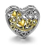 NinaQueen Amore Presente Ciondolo da donna argento sterling 925 per pandora charms bracciale Regalo compleanno natale san valentino festa della mamma Regali anniversario per moglie madre sposa