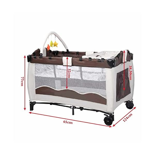 Costway Portable Infant Baby Travel Cot Bed Play Pen Child Bassinet Playpen Entryway W Mat 2 in 1 (Coffee) Costway 【Excluded locations】Guernsey, JERSEY, Channel Islands, Isle of Man, Scilly Isles, Scottish Islands, PO BOX 【Folded Design】Due to its folding design, you can take it to anywhere as you like by packing it in the supplied carry bag, and it just takes you a while to fold or unfold it before using. 【See-through safety mesh】It features mesh cloth on both sides, this netted areas allow your baby to see out clearly as well as an onlooker to see in to her/him, and it also offers great ventilation for your baby. 5