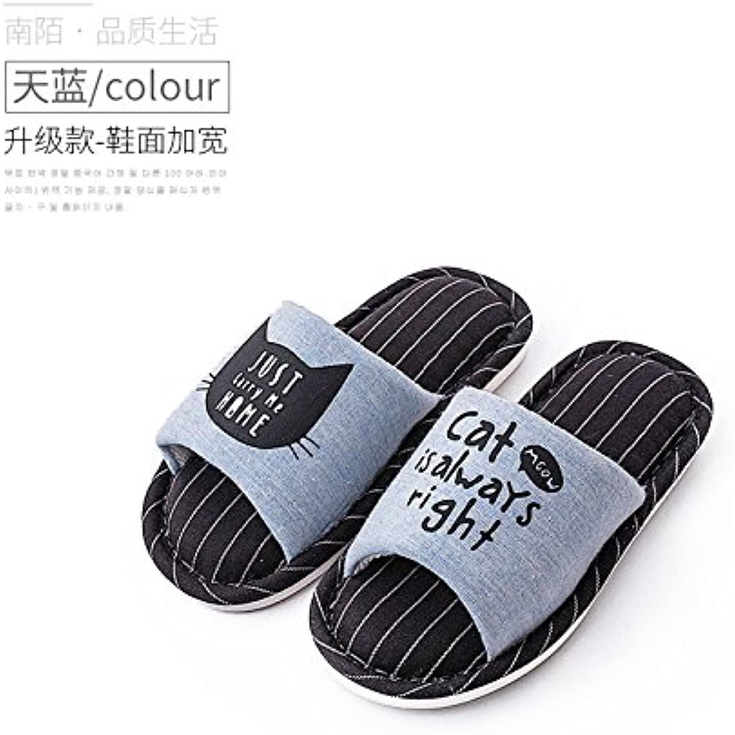 fankou Home Slippers Women Indoor Summer Stay Cotton Soft Bottom Floor Couples Flax Slippers Spring and Autumn...