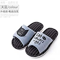 fankou Home Slippers Women Indoor Summer Stay Cotton Soft Bottom Floor Couples Flax Slippers Spring and Autumn Seasons 1.8 [180mm], The Sky Blue