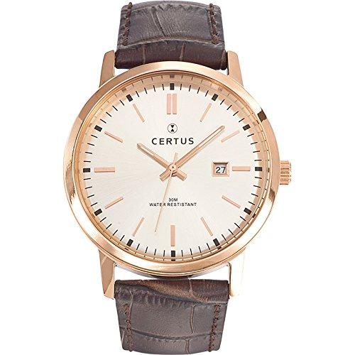 Certus 612374 - Reloj de pulsera hombre, piel, color marrón