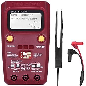 Transistor Tester Akozon ESR02 Pro Multifunzione Tester Transistor Condensatori Capacit/à Resistenze Induttanza Elettrico Multimetro Digitale a Diodi Tensione Rivelatore MOSFET SMD