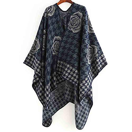 AIni 2019 Neuer Damen Decke Flower Design Coat Wrap Gemütlicher Schal Warm Mäntel Jacke Coat Neuheit 2019(Einheitsgröße,Marine) -