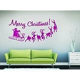 GetitStickit VinChrAma106 - Adhesivo para pared diseño de trineo de Papá Noel y mensaje Merry Christmas! color magenta