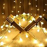 LED Stringa Piccola Lampadina, QinTian 100 LED String Fairy Lights 10m LED Bianco Caldo Luci Stringa Impermeabili Decorative, 8 modalità Catena Luminosa Esterno per Casa, Festa, Matrimonio, Giardino