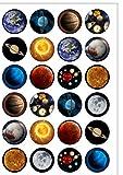 24 x Kuchendekoration,vorgeschnitten, Motiv Planeten, Weltall, Mottoparty, essbar, Oblatenpapier
