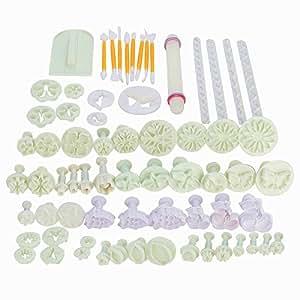Stampi ad espulsione set 68 Pz. Laoye Formine ed Attrezzi decorazione per Pasta di zucchero, torte, dolci e biscotti ecc.