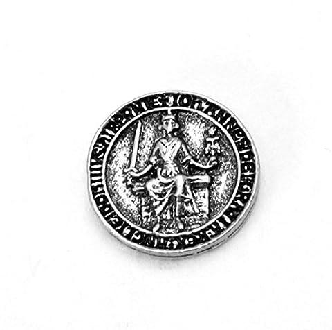 King John Seal Pin Badge in English Pewter, Handmade in England, Magna Carta (wa)