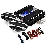 auna Auto 15x23cm Lautsprecher HiFi Set Black Line 220 (2x 500W Boxen, 1400W Endstufe)