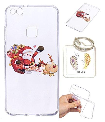 Preisvergleich Produktbild Hülle Huawei P10 Lite TPU schutz silikonhülle, Weihnachtsgeschenke niedlichen cartoon bild transparent handy Hülle für Huawei P10 Lite + schlüsselanhänger (* / 64) (2)