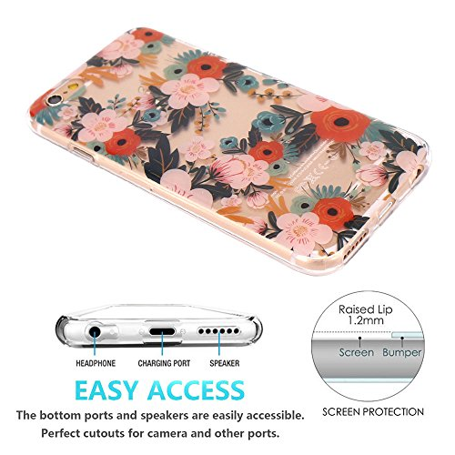 iPhone 6 Hülle, iPhone 6S Hülle, JIAXIUFEN TPU Silikon Schutz Handy Hülle Transparent HandyHülle Schutzhülle Case Cover Huelle Handyhuelle für Apple iPhone 6 6S - White Flower Mandala Three Colorful Blossom