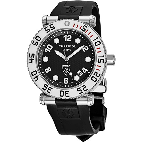 Charriol Men's Rotonde 43mm Black Rubber Band Quartz Watch RT42DIVW.142D01