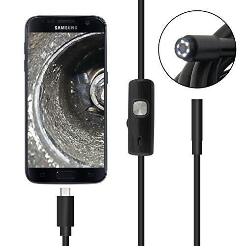 iXium 5,5mm Objektiv Micro USB Endoskop Inspektionskamera Wasserdicht IP67Schlange Tube Cam 6weiß LED für Android Phone (OTG) PC und Laptop-10m lang (Snake-cam Android)