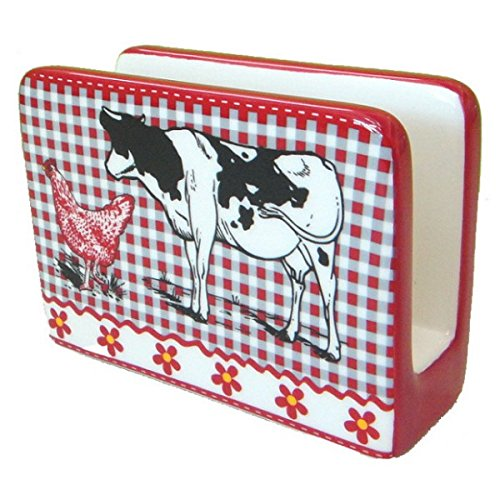 REVIMPORT - Porte-Serviettes jetables faience dure Vache Noir*