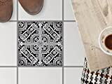 creatisto Fussboden-Fliesen kleben | Dekorativ-Aufkleber Folie Sticker Badfolie Küchen-Fliesen Badgestaltung | 32,5x32, Muster Ornament Black n White - 1 Stück
