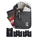 Portadocumenti da Collo con Blocco RFID - Portafolgio da Viaggio & Porta Passaporto (Shadow Grey)