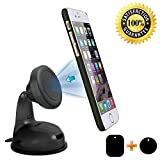 #1: Photron PH-MH65 Universal Magnetic Car Mount, Windshield Mount and Dashboard Mount Holder for Cell Phones Smartphones and Mini Tablets with 2 Magnetic Plates & 3M Adhesive
