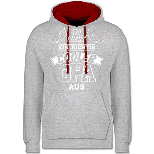 Opa - So sieht ein richtig cooler Opa aus - Kontrast Hoodie Grau Meliert/Rot