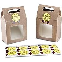 Syndecho Boîte de 24Sacs à cookie bonbons boulangerie 15,5x 9,5x 5,5cm + 24autocollants « Handmade » (faits à la main) avec partie transparente café