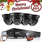 SANNCE Kit de Seguridad Sistema de 8CH 1080N DVR 5-en-1 con 1TB HDD y 4 Cámaras de vigilancia 720P HD con visión Nocturna Interior/Exterior Acceso Remoto
