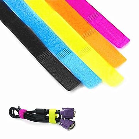 iNeith Attaches de Câble Sangles Velcro Réutilisable Multicolore Pour Computer Appliance Electronics Wire PC portable TV 50 Pièces
