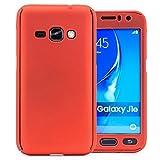 COOVY Funda para Samsung Galaxy J1 SM-J120 / SM-J120F / SM-J120F/DS (Model 2016) 360 Grados, Carcasa Ultrafina y Ligera, con Protector de Pantalla, protección de Cuerpo Completo   Color Rojo