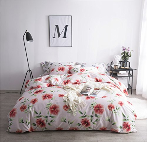 Bettwäsche Bettlaken Bettbezug Bettdecke Set 4 Stücke 100% Ägyptische Baumwollgewebe Zeitgenössische Blume Mikrofaser Reversibel Hypoallergen, Voller Königin Bett Größe ,C,Full -