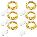 GDEALER 6 Stück LED Batteriebetriebene Lichterketten 2,2 Meter 20 LEDs Stimmungslichter Mikro Kupferdraht Sternlicht für Weihnachten, Party, Haus Deko, Hochzeit (Warmweiß)