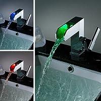 Jiayoujia in ottone massiccio cromato LED cascata rubinetto miscelatore a leva singola