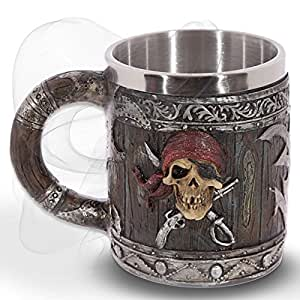 "Boccale ""Hell's Grog"" - Effetto legno con un teschio pirata - Bucanieri Fantasy Caraibi"